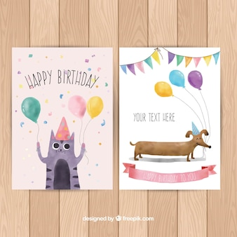 Happy birthday cards collection in watercolor style