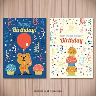 Raccolta di carte di buon compleanno con animali