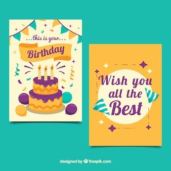 Счастливые поздравительные открытки в плоском дизайне