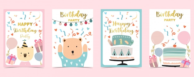 Happy birthday cards set with cake, confetti, balloon