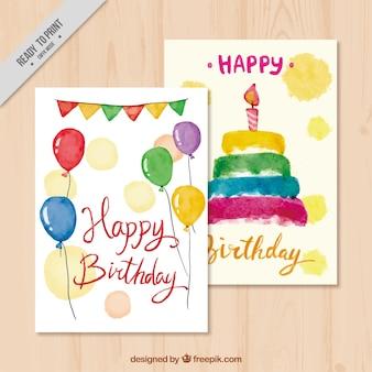 Carte di buon compleanno con torta e palloncini acquerello