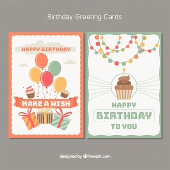 Happy birthday cards with party elements