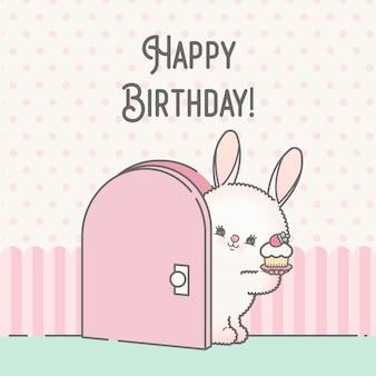 Happy birthday cartoon bunny template card premium
