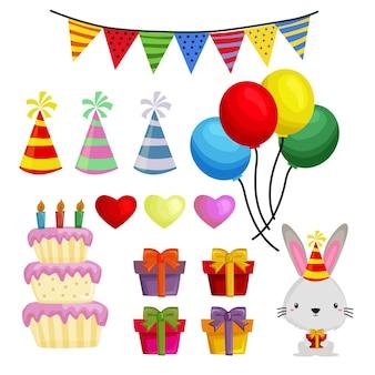 Happy birthday cartoon elements set