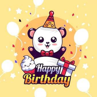 Happy birthday cartoon illustration