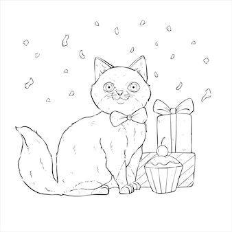 Happy birthday cat with hand draw or sketch style on white background