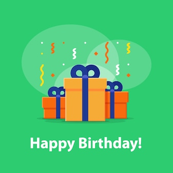 Happy birthday celebration, anniversary invitation, group of three boxes, surprise gift with falling confetti, congratulations illustration, flat icon