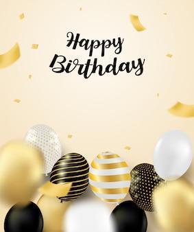 С днем рождения праздник карты. дизайн с черными, белыми, золотыми воздушными шарами и конфетти золотой фольги. мягкий фон. вектор.