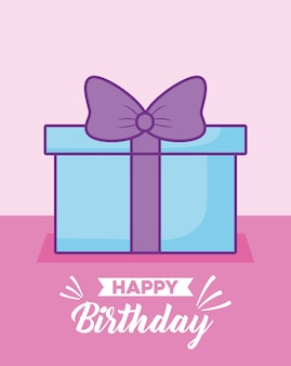 Happy birthday celebration card with gift presents