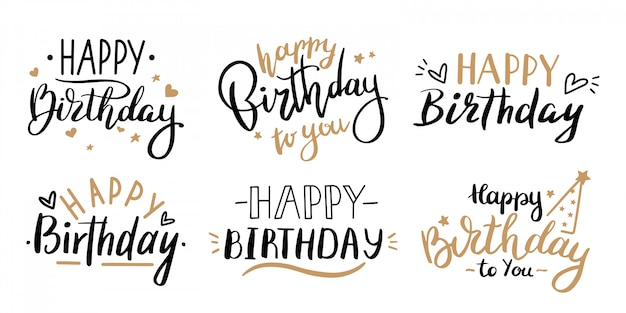 Happy birthday celebration concept. greeting birthday party lettering with celebration hand drawn elements, decorative invitation card  set. anniversary black and gold handwritten inscription