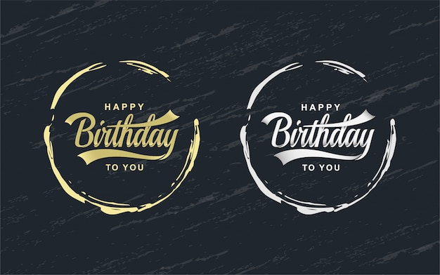 Happy birthday celebration concept. greeting birthday party lettering with circle.
