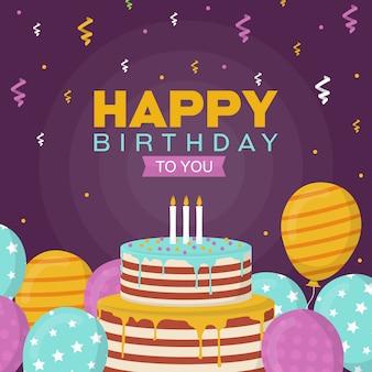 Happy birthday celebration party balloon cake banner greeting card