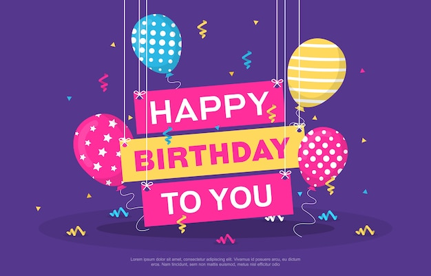 Happy birthday celebration party balloon confetti banner greeting card
