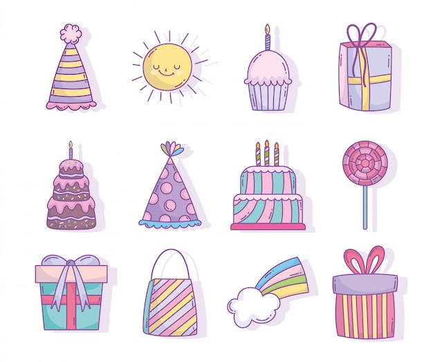 Happy birthday celebration party decoration cakes gifts hat candy