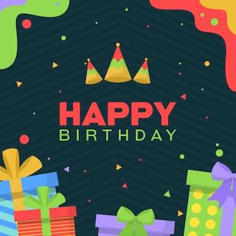 С днем рождения празднование партии подарок простой баннер открытка