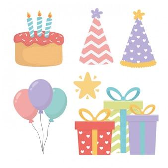 Happy birthday celebration set icons