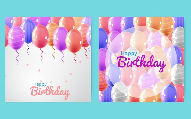 Happy birthday celebration typography design for greeting card, poster or banner.  illustration