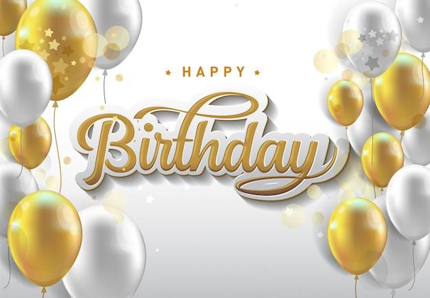 С днем рождения праздник типографии с реалистичными шарами и падающего конфетти.