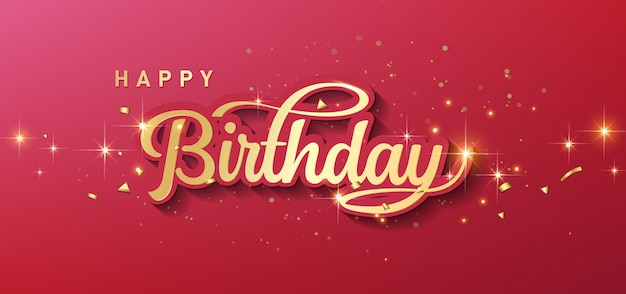 Happy birthday celebration typography with realistic golden star and falling confetti.