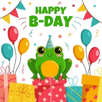 Happy birthday celebration with frog