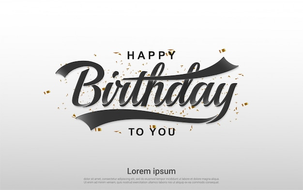 Happy birthday celebration with gold ribbon background