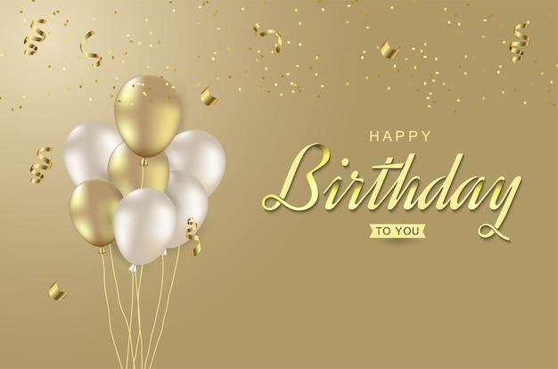 Happy birthday celebration with realistic balloon.
