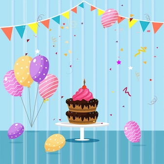 Happy birthday celebrations concept with colorful balloons, cake and space for your message.