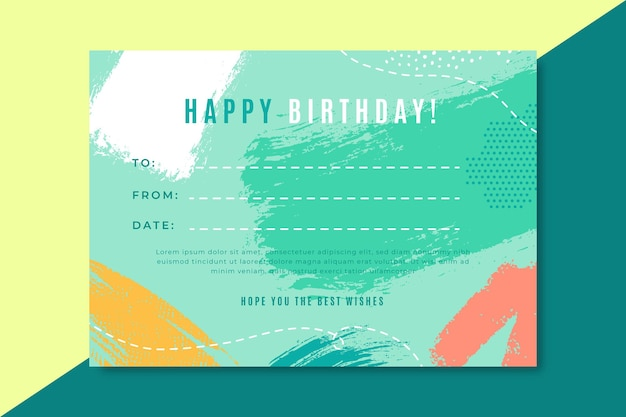 Happy birthday certificate template