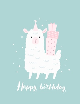 Happy birthday childish card, poster template with cute baby lamb sheep and gift boxes