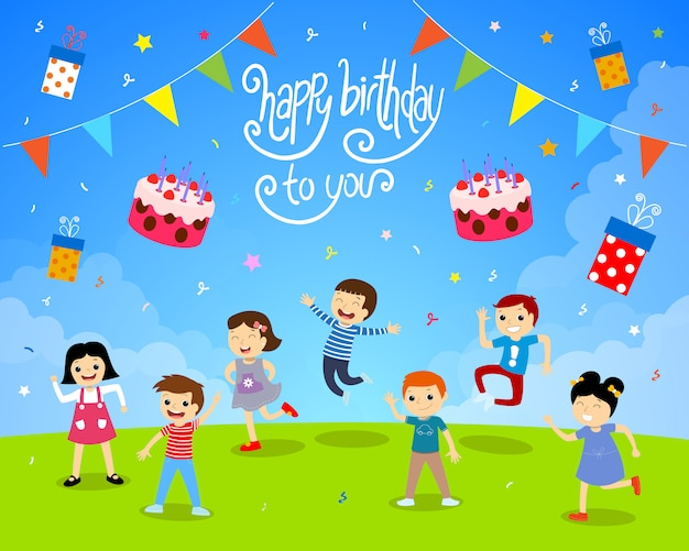 Happy birthday children garden party illustration