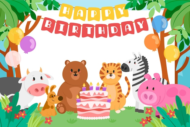 Happy birthday children's background with animals