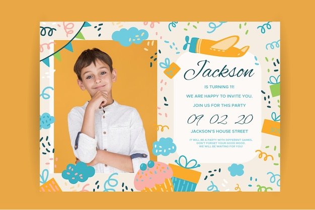 Happy birthday children's invitation with boy