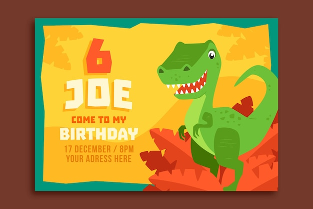 Happy birthday children's invitation with dinosaur