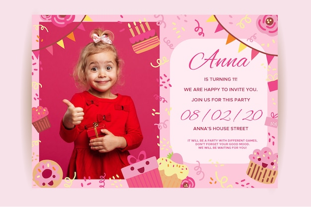 Happy birthday children's invitation with girl