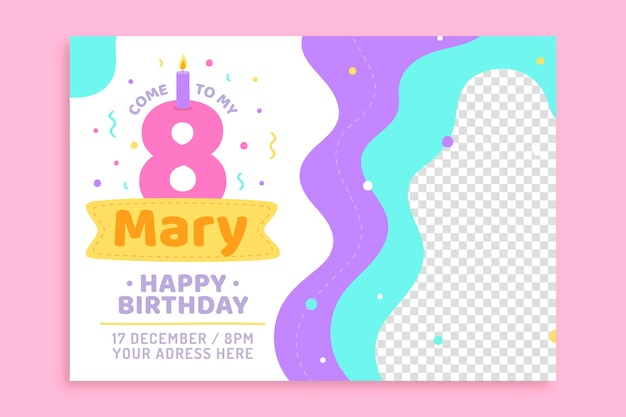 Happy birthday children's invitation with transparent background