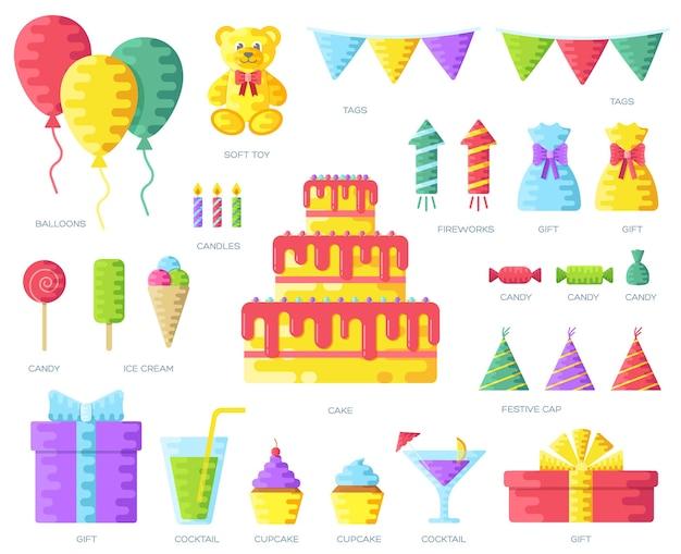 Happy birthday circle infographics template