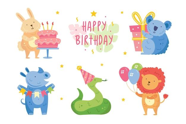 Happy birthday clip art set cute animals celebrating together rabbit koala rhino snake lion