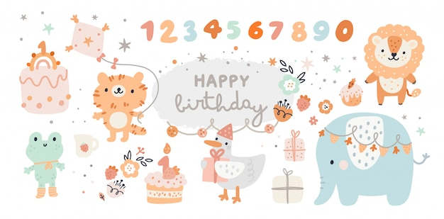 Happy birthday collection with cartoon animals, gifts, cakes