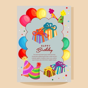 Happy birthday colorful card with balloon party hat