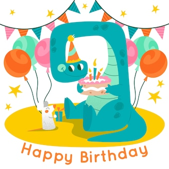 Happy birthday colorful illustration