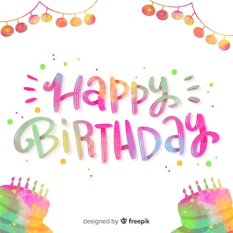 Happy birthday colorful lettering quote