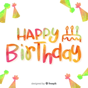 Happy birthday colorful lettering
