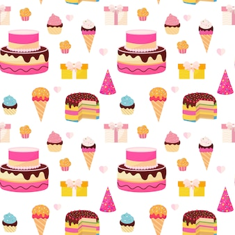 Happy birthday colorful seamless pattern