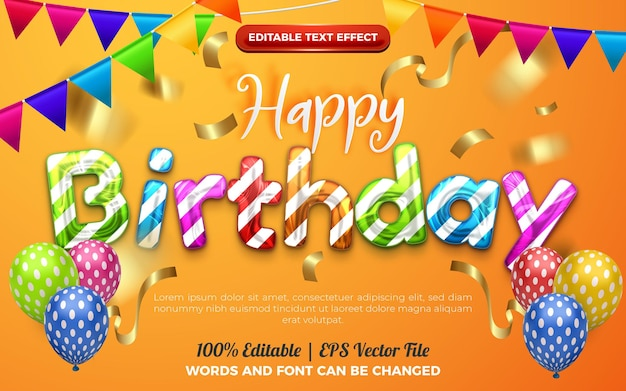 Happy birthday colorfull chrome editable effect style. orange background with colorfull balloons decoration