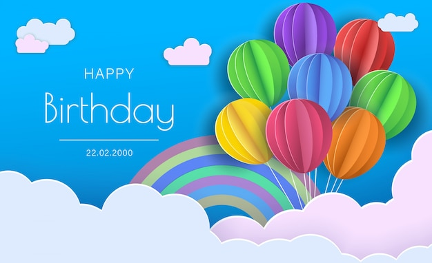 Happy birthday concept. balloons in clouds. paper and craft art
