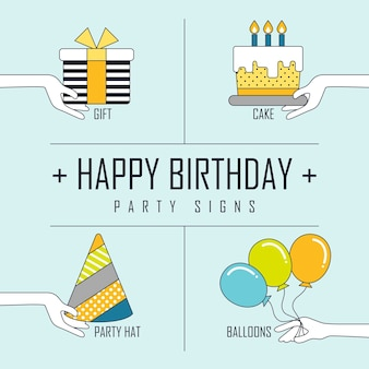Концепция с днем рождения: элементы вечеринки в стиле линии