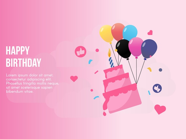 Happy birthday concept in pink background vector