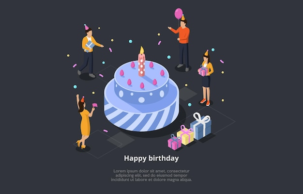 Happy birthday concept vector illustration. isometric 3d composition with group of people celebrating holiday around big festive cake