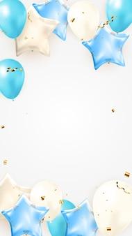 파티 휴일 배경을 위한 색종이 조각, 풍선 및 광택 반짝이 리본이 있는 생일 축하 배너 디자인. 벡터 일러스트 레이 션 eps10