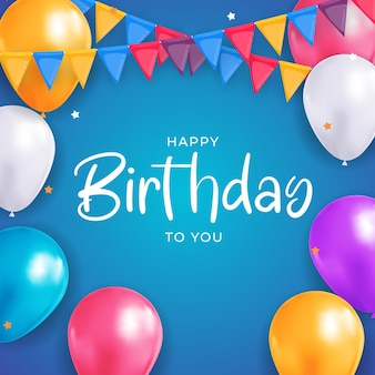 С днем рождения поздравления с дизайном баннера с конфетти воздушными шарами для праздничного фона вечеринки